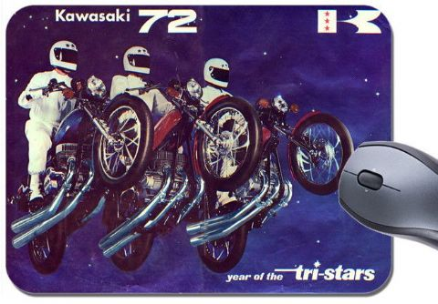 Tri-Stars Are Here H1 H2 S2 Triples Dealer Poster Mouse Mat Motorcycle Mouse Pad